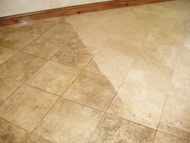 Limestone tile and grout cleaning 1