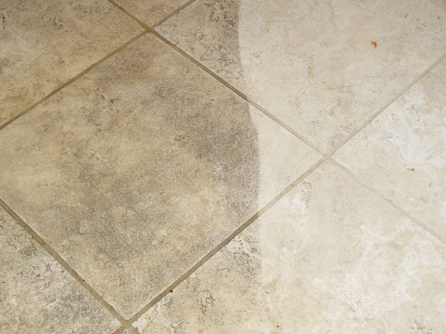 Limestone tile and grout cleaning 2